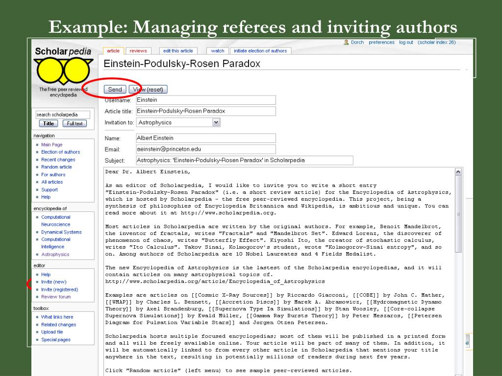 Example: Managing referees and inviting authors