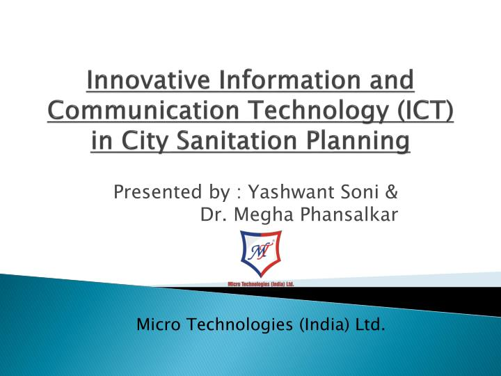 innovative information and communication technology ict in city sanitation planning n.