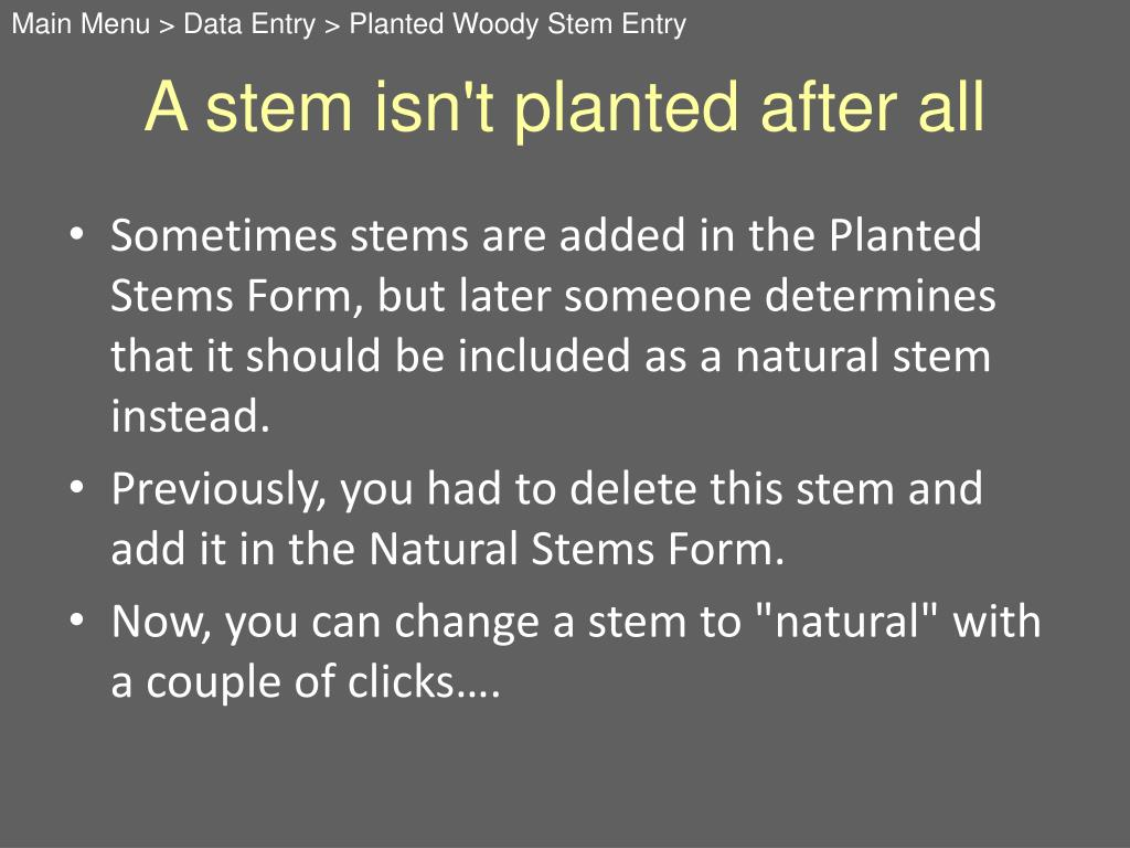 A stem isn't planted after all