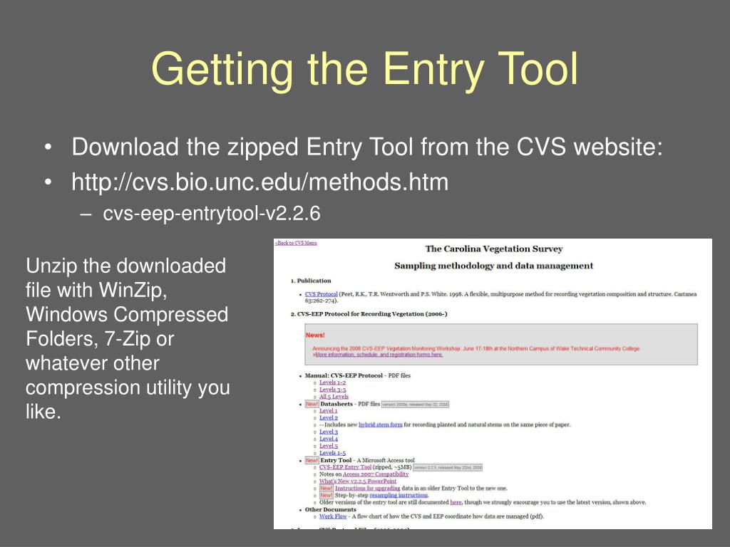 Getting the Entry Tool