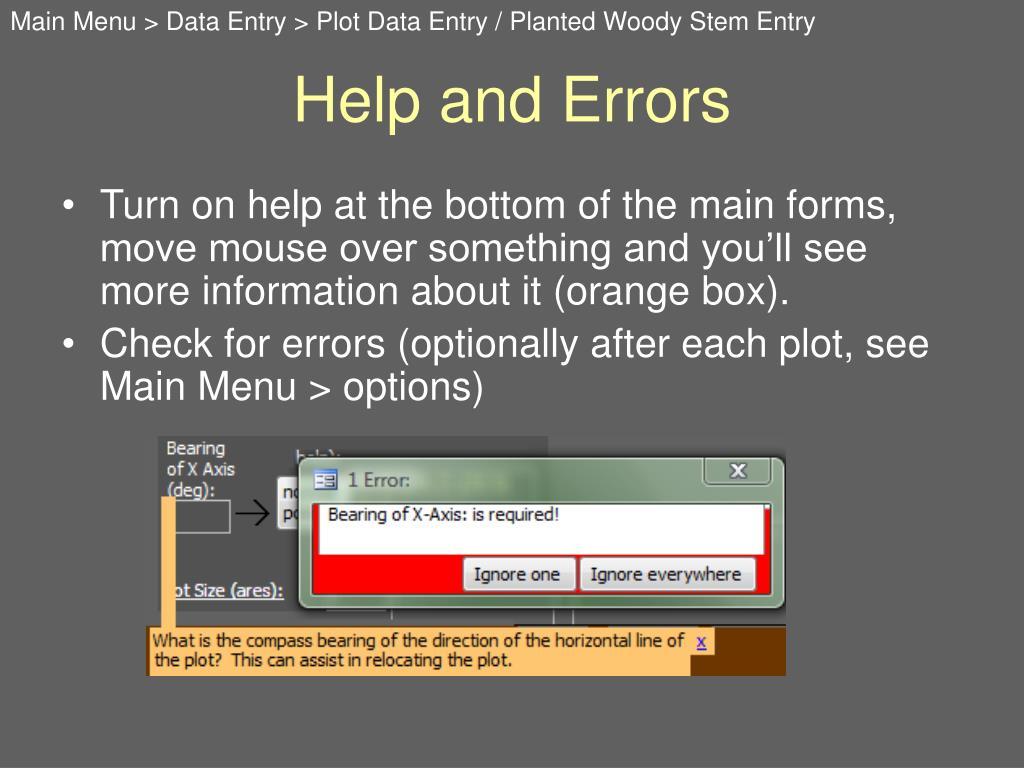 Help and Errors