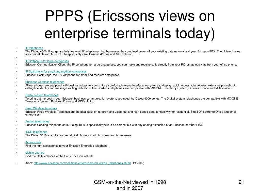 PPPS (Ericssons views on enterprise terminals today)