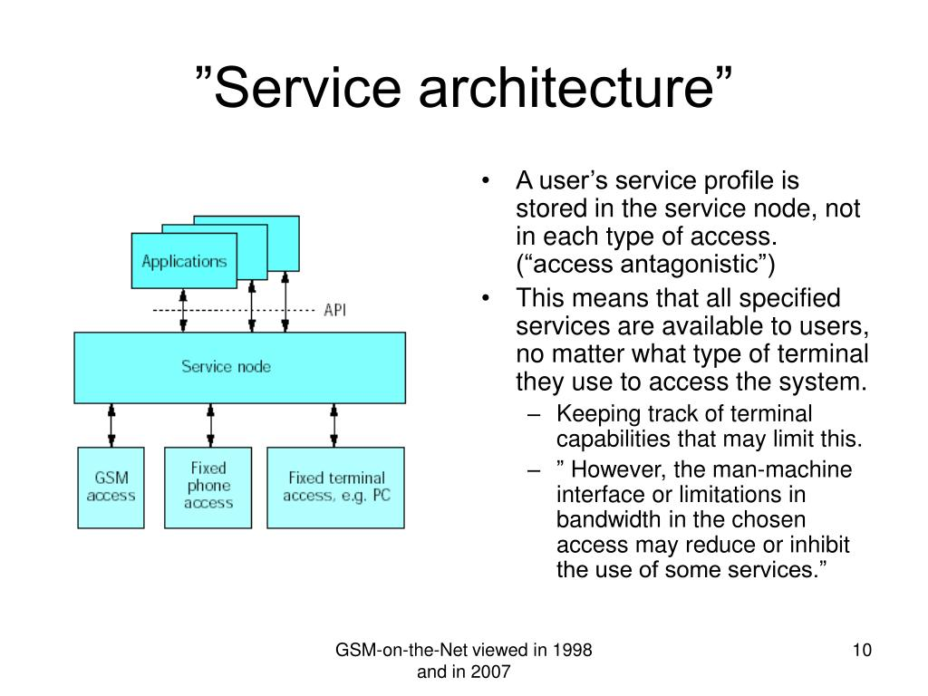 """A user's service profile is stored in the service node, not in each type of access. (""""access antagonistic"""")"""