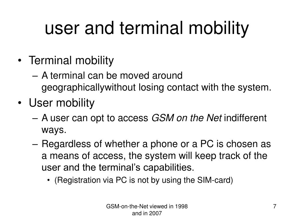user and terminal mobility