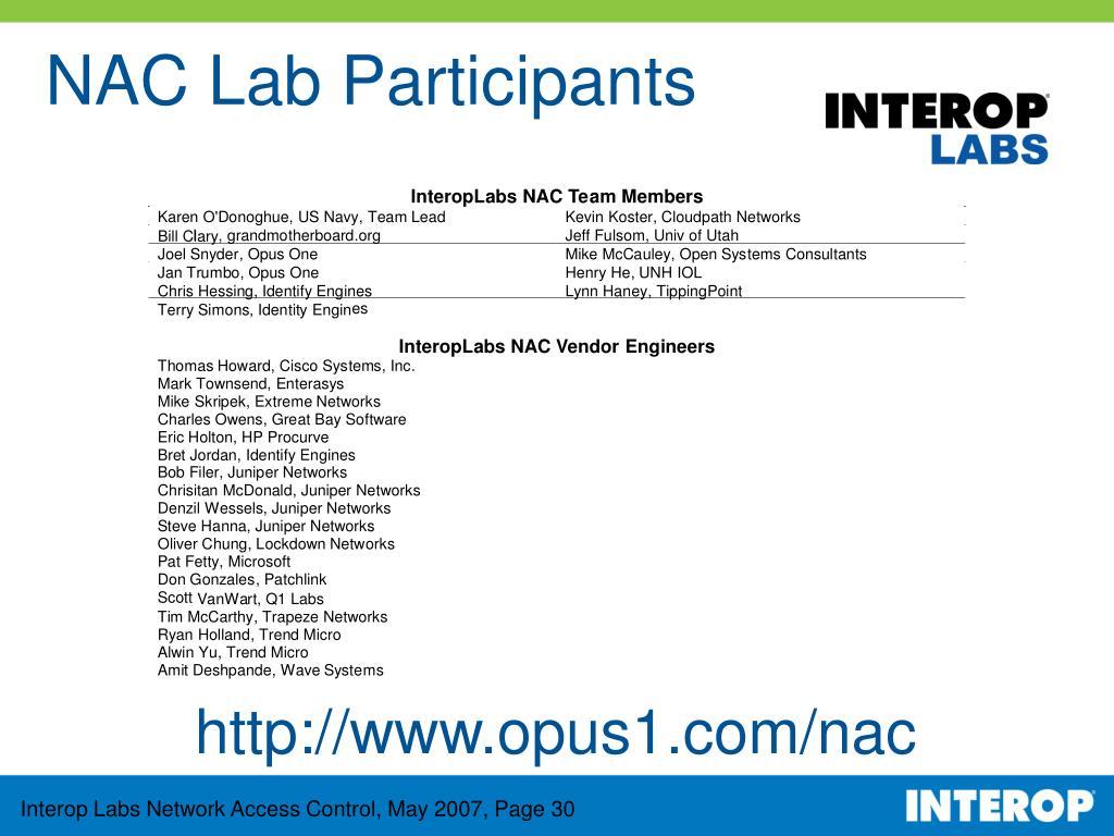 NAC Lab Participants