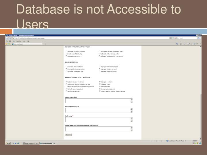 Database is not Accessible to Users