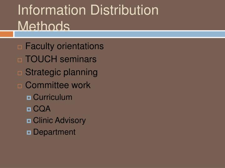 Information Distribution Methods