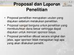 proposal dan laporan penelitian