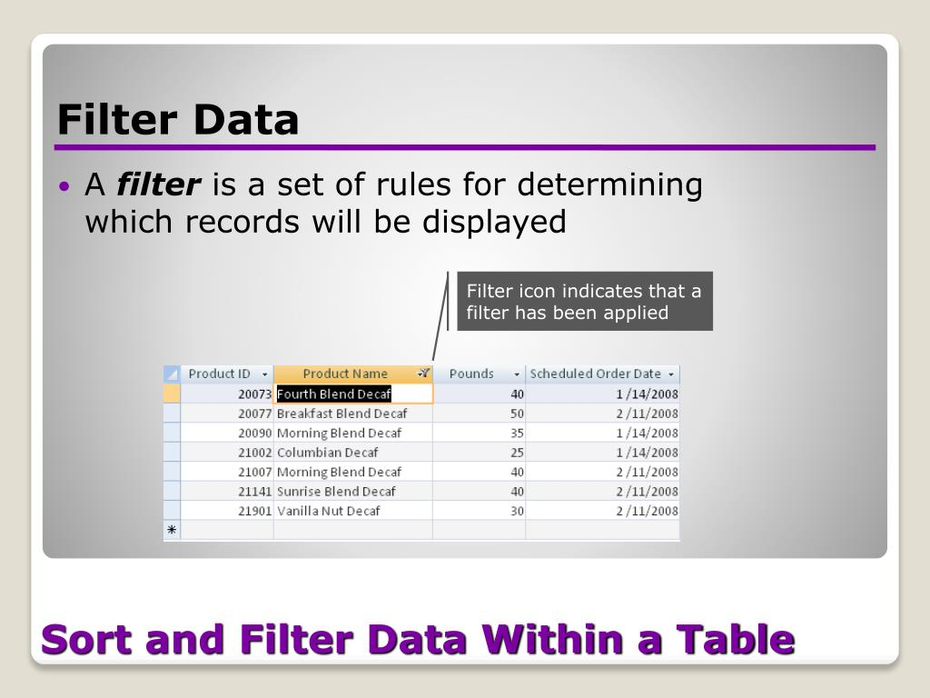 Sort and Filter Data Within a Table