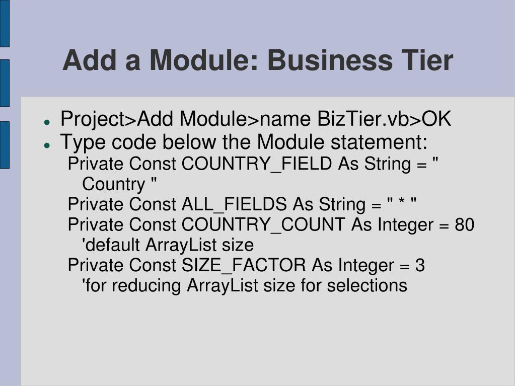 Add a Module: Business Tier