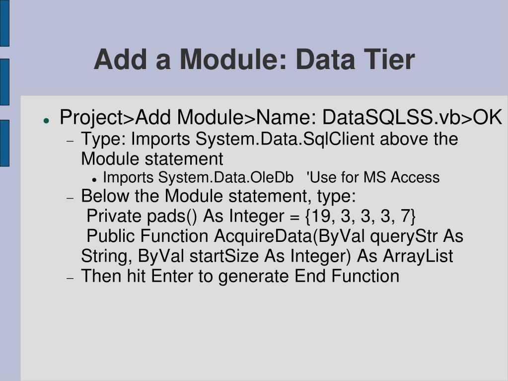 Add a Module: Data Tier