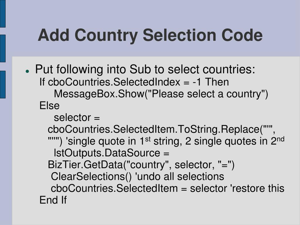 Add Country Selection Code