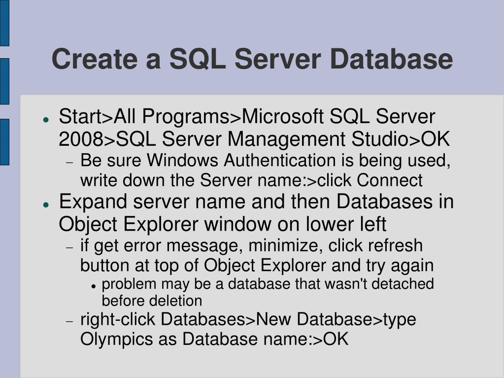 Create a SQL Server Database