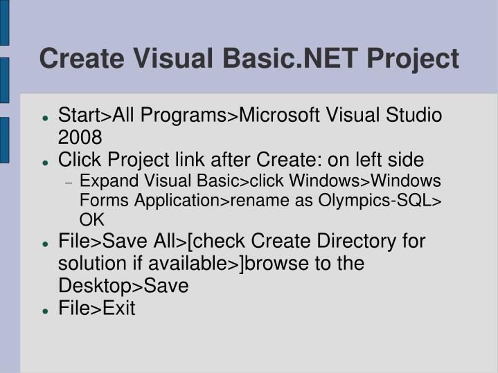Create visual basic net project