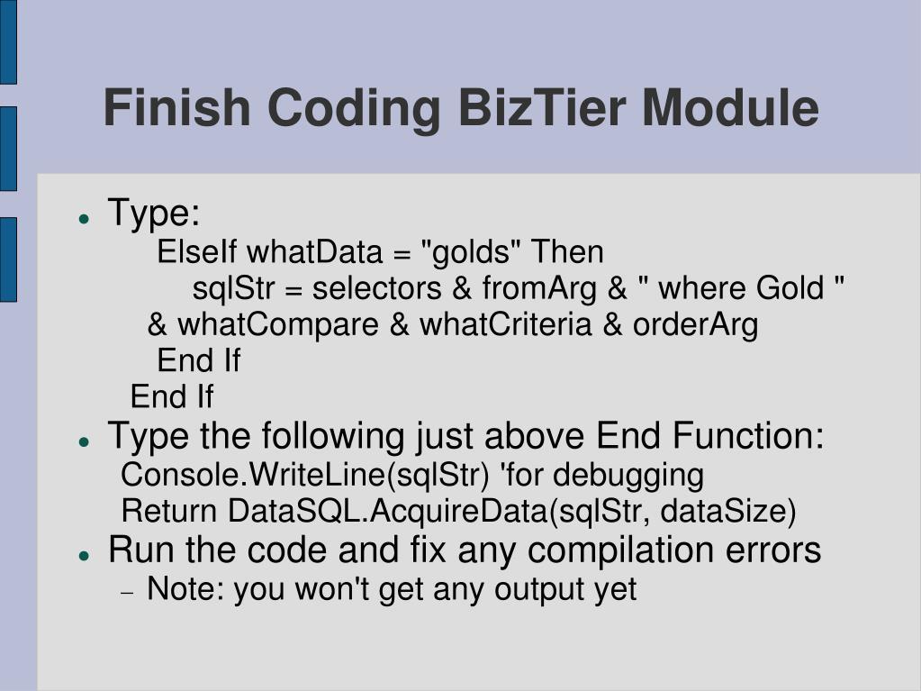 Finish Coding BizTier Module