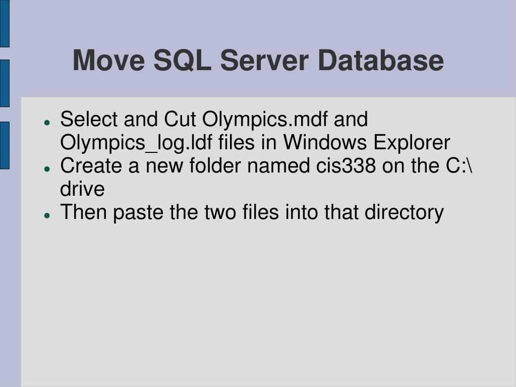 Move SQL Server Database