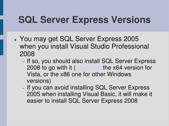Sql server express versions