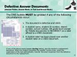 defective answer documents answer folder answer book or test and answer book