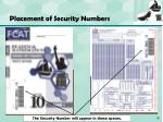 placement of security numbers