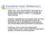 excedente total williamson