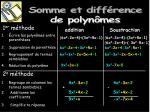 somme et diff rence de polyn mes