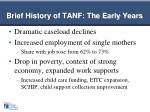 brief history of tanf the early years