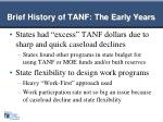 brief history of tanf the early years1