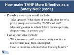 how make tanf more effective as a safety net cont