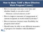 how to make tanf a more effective work program cont