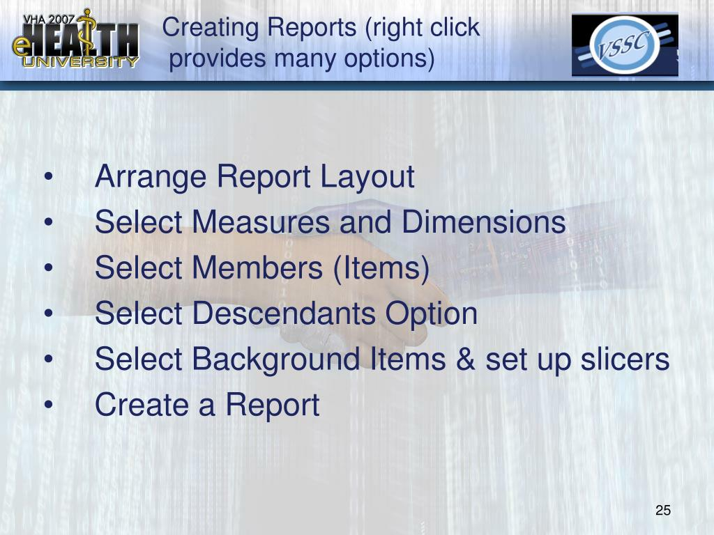Creating Reports (right click