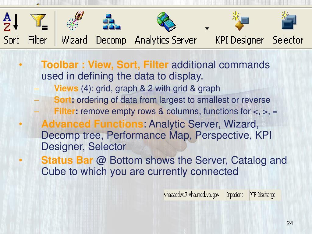 Toolbar : View, Sort, Filter