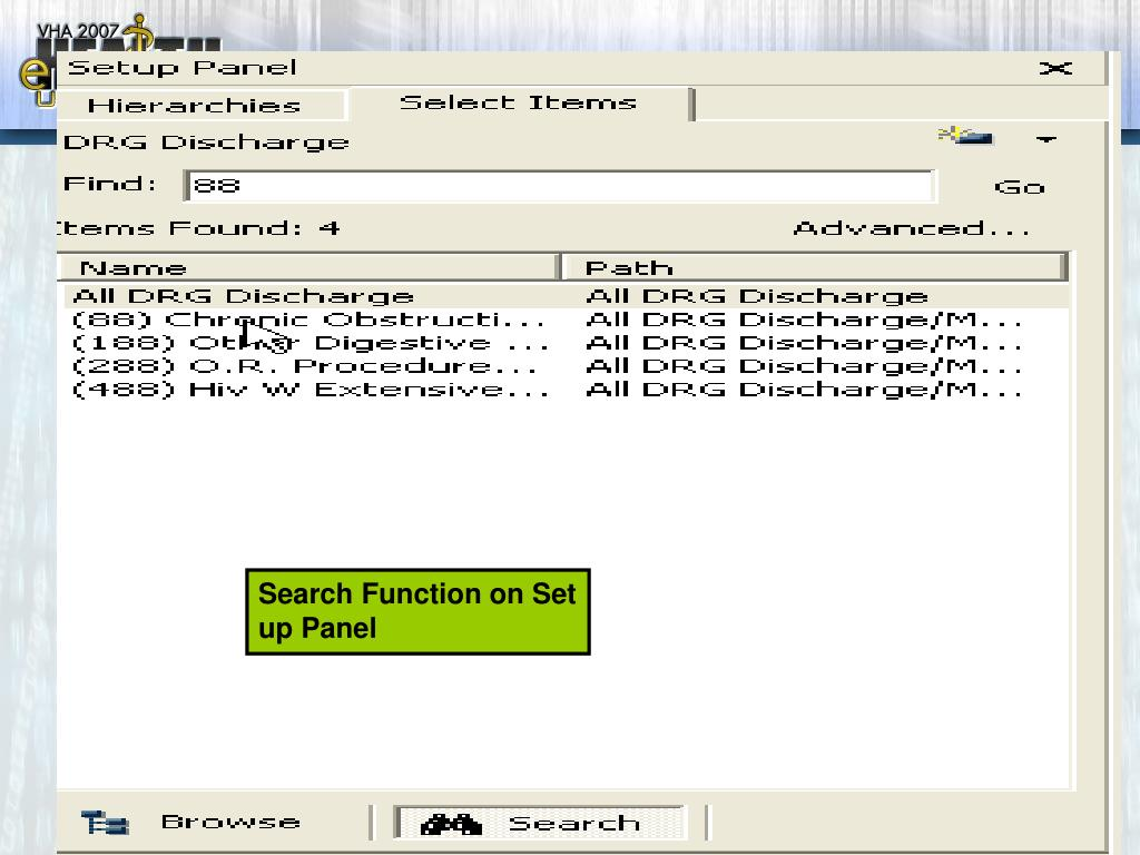 Search Function on Set up Panel