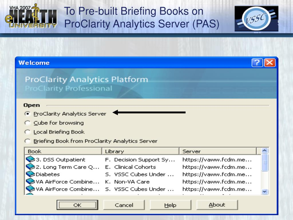 To Pre-built Briefing Books on ProClarity Analytics Server (PAS)