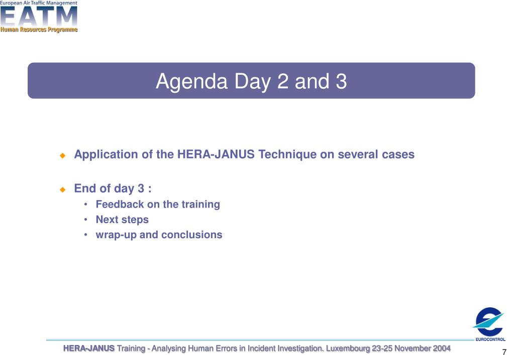 Agenda Day 2 and 3