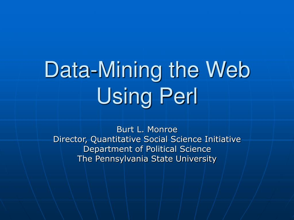 data mining the web using perl l.
