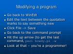 modifying a program