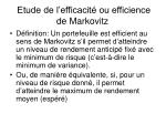 etude de l efficacit ou efficience de markovitz