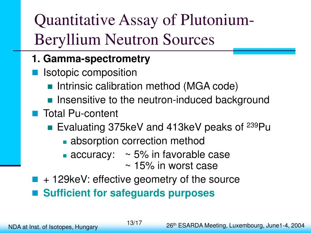 Quantitative Assay of Plutonium-Beryllium Neutron Sources