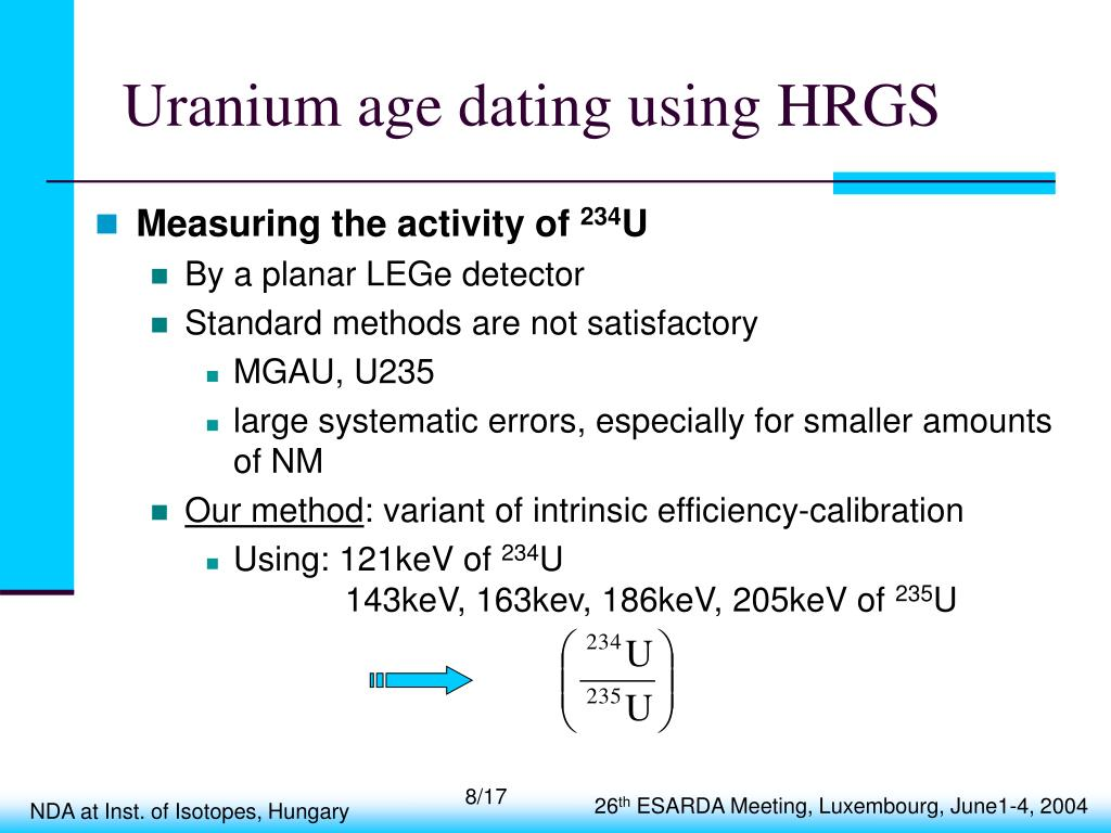 Uranium age dating using HRGS