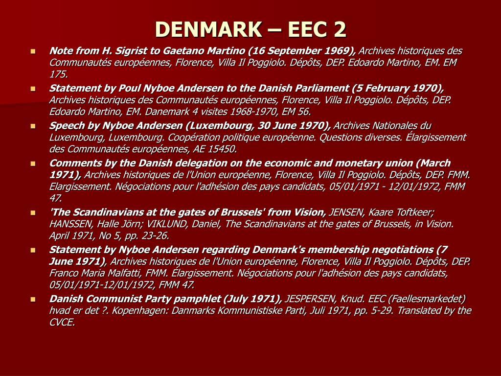DENMARK – EEC 2