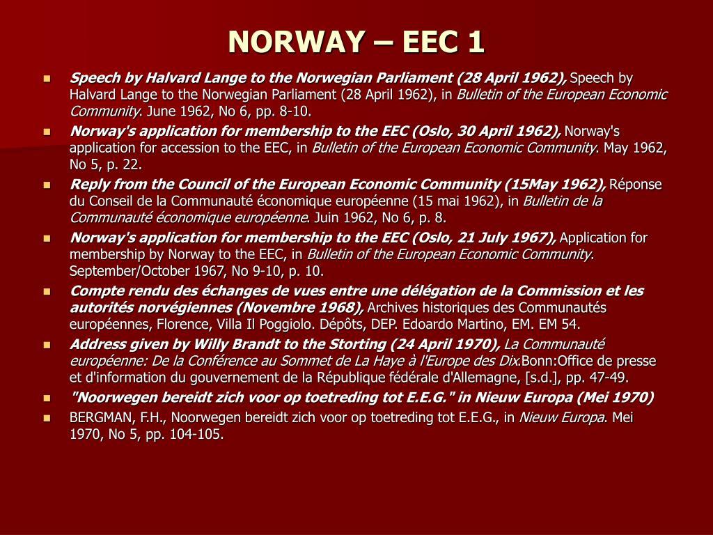 NORWAY – EEC 1