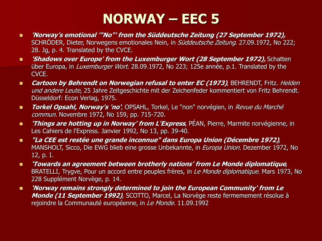 NORWAY – EEC 5