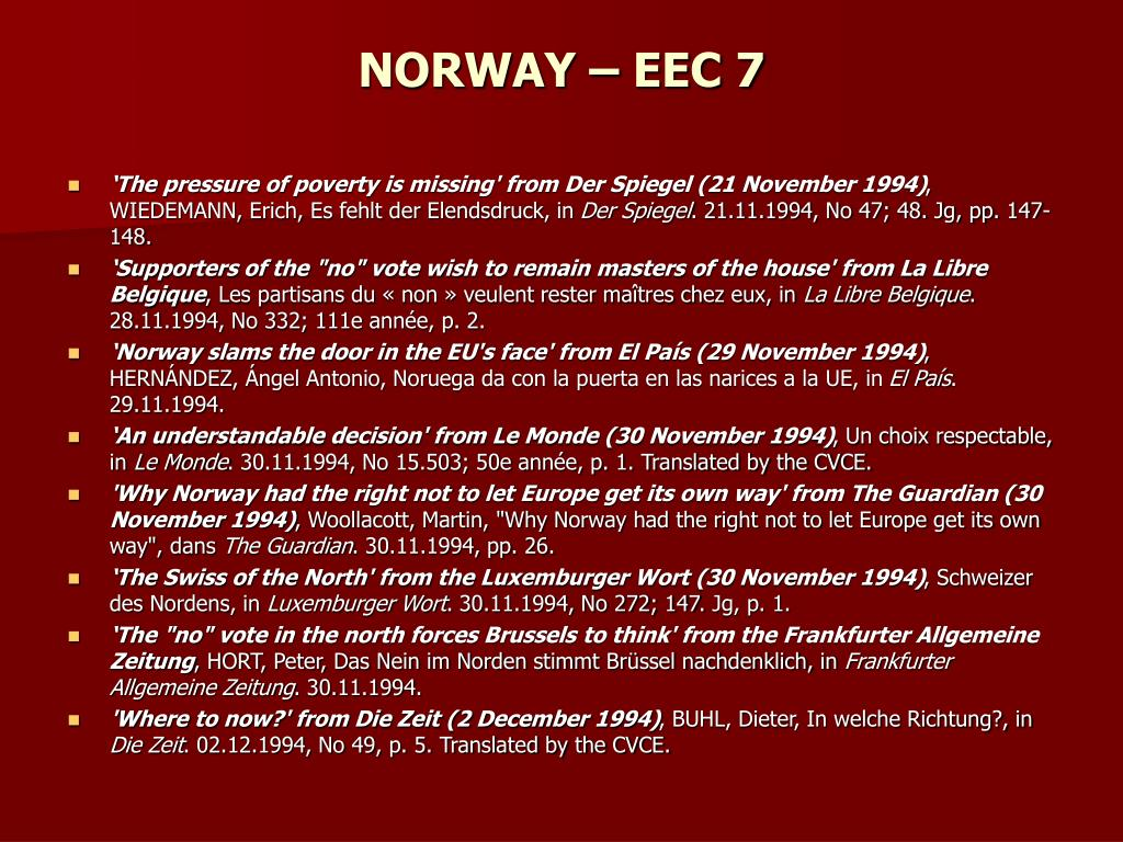 NORWAY – EEC 7