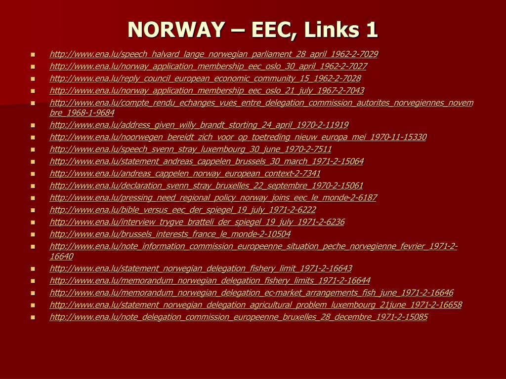 NORWAY – EEC, Links 1