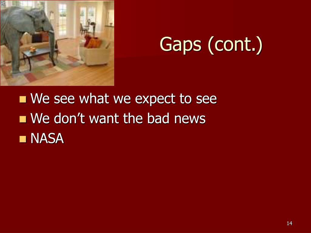 Gaps (cont.)
