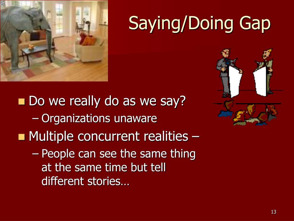 Saying/Doing Gap