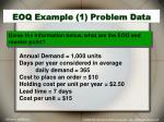 eoq example 1 problem data