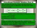 price break example solution part 4
