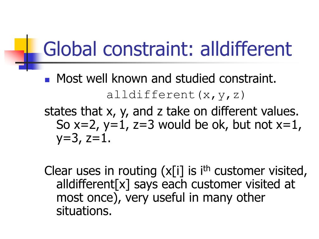 Global constraint: alldifferent