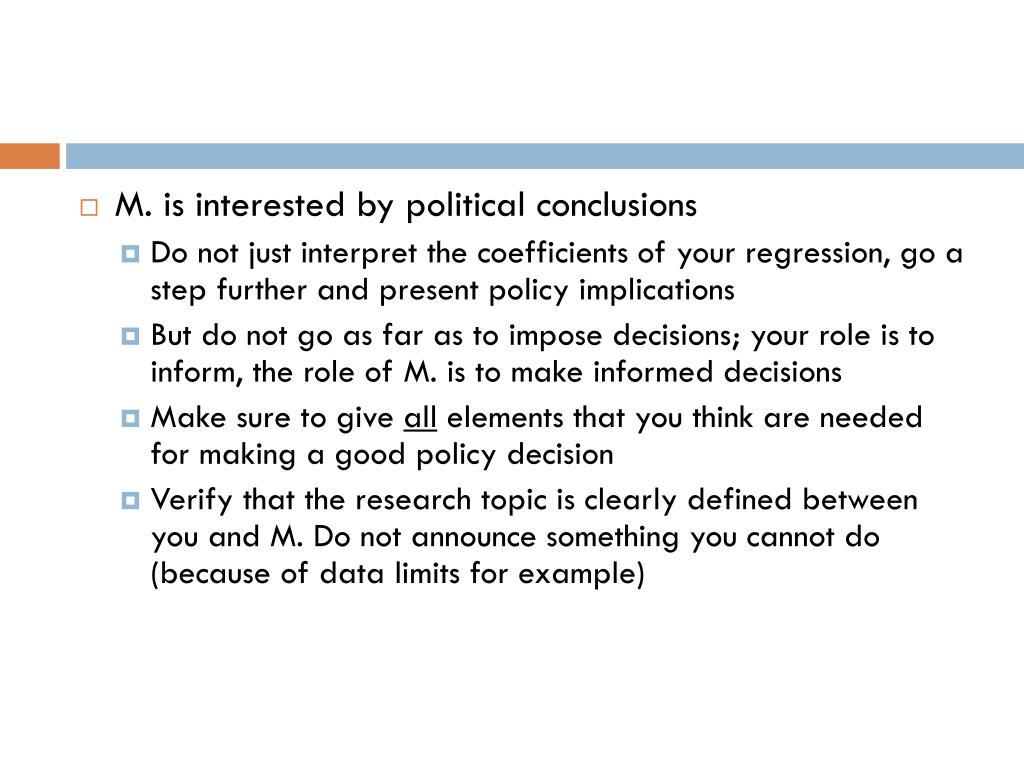 M. is interested by political conclusions